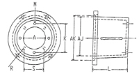 Dimensional Drawing for EM4 Series Pump/Engine Adapters