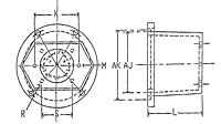 Dimensional Drawing for EM5 Series Pump/Engine Adapters